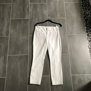 Sexy white fitted Anthropologie cropped pants!